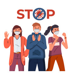 People wearing medical masks show stop gesture to vector