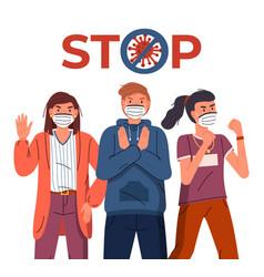 People wearing medical masks show stop gesture vector