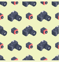 Photo camera isometric seamless pattern vector
