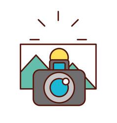 photographic camera taking photo graphic vector image