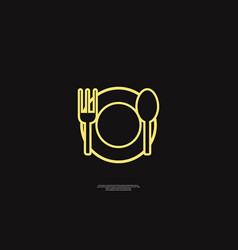 Plate and spoon vector