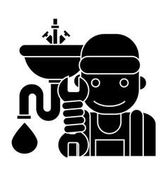 plumbing service icon black vector image