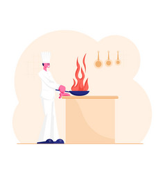 professional chef cooking food prepare vegetables vector image