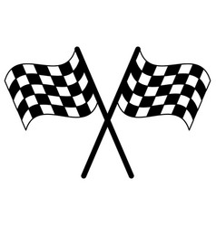Racing flags crossed symbol in black and white vector