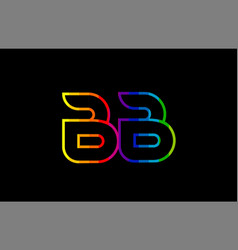 Rainbow color colored colorful alphabet letter bb vector