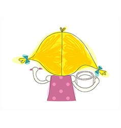 Rear view girl holding cup vector