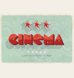 retro cinema banner with stars vector image