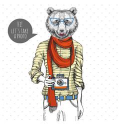 Retro hipster animal bear with photo camera vector