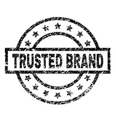 Scratched textured trusted brand stamp seal vector