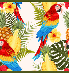 seamless macaw pineapple and flowers vector image