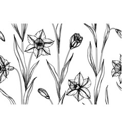 seamless pattern daffodils flower and leaf hand vector image
