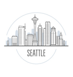 seattle city skyline - towers and landmarks vector image