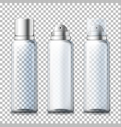 Set - 3d realistic foam bottles with caps vector