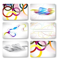 Set of 6 metallic themed business card templates vector