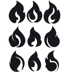 set of 9 black fires for design or tattoo vector image