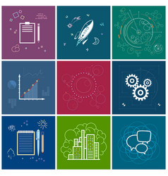 Set of business iconsline style vector