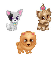 Set Of Cute Different Dogs vector image vector image