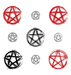 Set of hand drawn pentagram icons scanned and vector image
