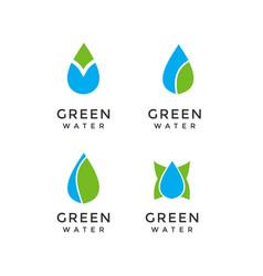 Set simple water fresh logo design vector