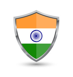 shield with flag of india isolated vector image