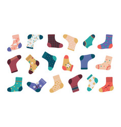 Socks cartoon fashion socks isolated set funny vector