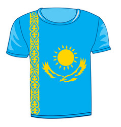t-shirt flag kazakhstan vector image