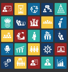 teamwork and collaboration set on color squares vector image