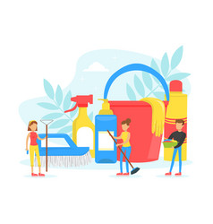 Tiny people cleaning house with cleaning tools vector