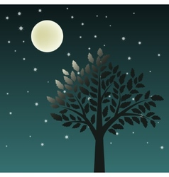 Tree and moon vector image