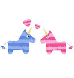 two fiesta unicorn horses in love pinata vector image