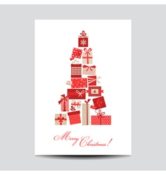 Vintage Christmas Card - Christmas Tree from Gifts vector