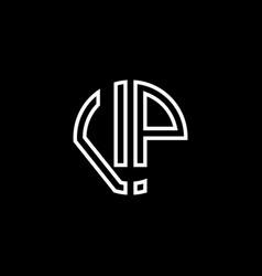 Vp monogram logo circle ribbon style outline vector