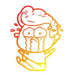 Warm gradient line drawing cartoon crying man sat vector