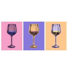Wine glass hand drawing vector