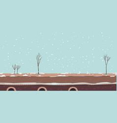 winter river promenade or bridge with snow vector image