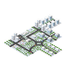 Winter town tree an isometric city with streets vector