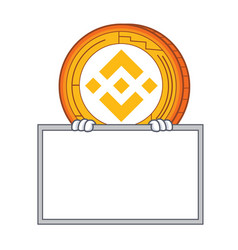 With board binance coin character catoon vector