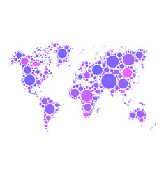 world map mosaic of violet dots in various sizes vector image