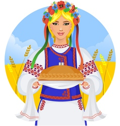 Young woman in ukrainian clothes with garland and vector