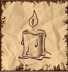 Candle icon on vintage background vector image vector image