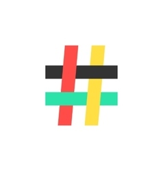 colored hashtag icon on white background vector image vector image