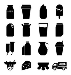 milk icons set on white background vector image vector image