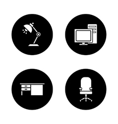 Office interior black icons set vector