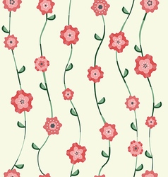 Red flowers pattern with stalk and leaves vector image