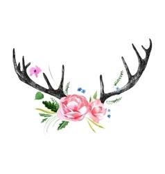 Deer horns with watercolor flowers vector