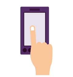 finger touching a smartphone screen vector image vector image