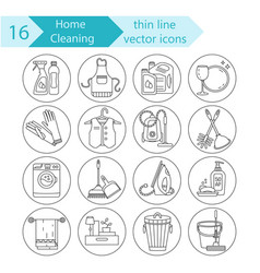 house cleaning thin line icon set vector image