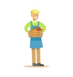 Man With Crate Of Fresh Vegetables Farmer Working vector image vector image