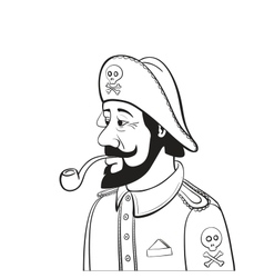 Pirate Captain with Beard and Pipe Isolated on vector image