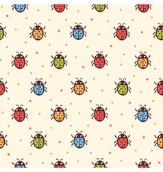 Seamless childish ladybugs pattern vector image vector image
